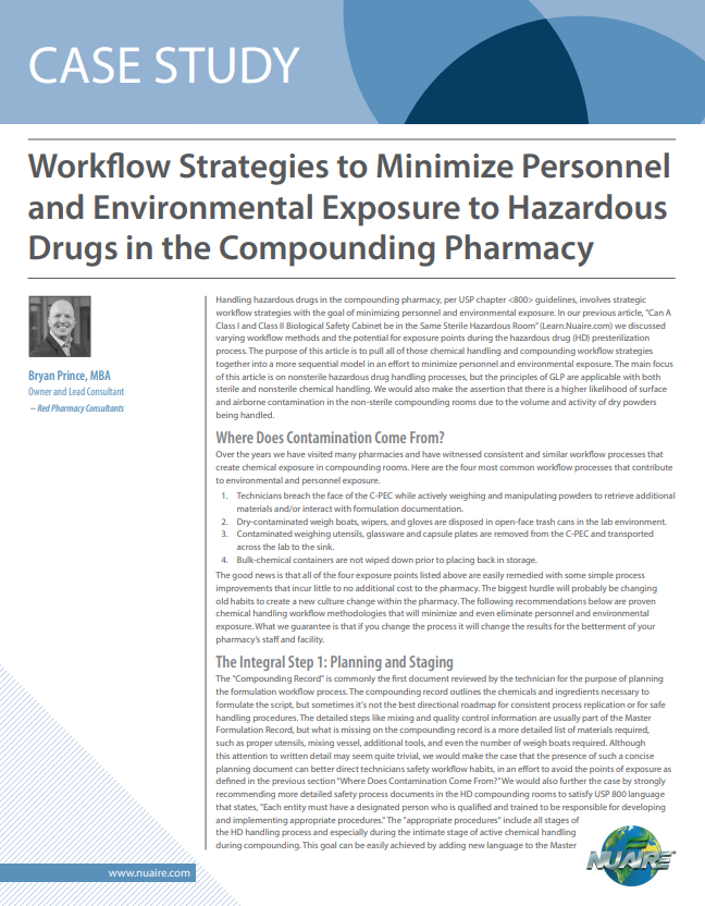 Workflow Strategies to Minimize Personnel and Environmental Exposure to Hazardous Drugs in the Compo