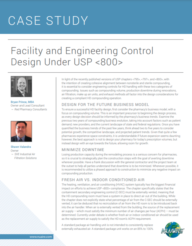 Facility and Engineering Control Design Under USP <800>