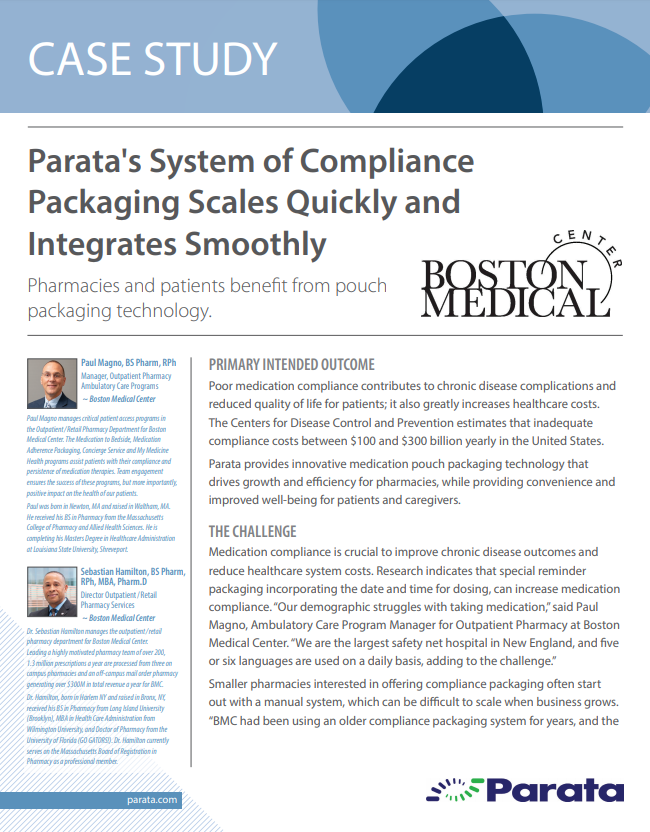 Parata�s System of Compliance Packaging Scales Quickly and Integrates Smoothly