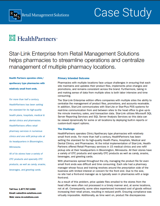 Star-Link Enterprise from Retail Management Solutions helps pharmacies to streamline operations and