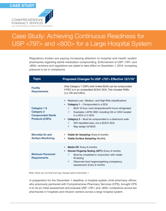 Achieving Continuous Readiness for USP <797> and <800> for a Large Hospital System
