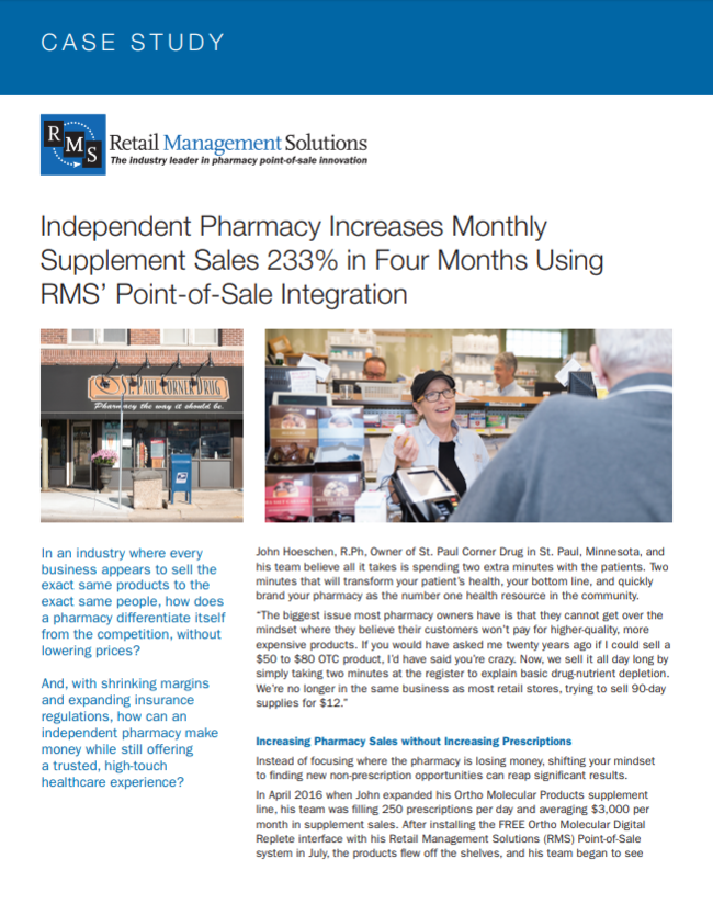 Independent Pharmacy Increases Monthly Supplement Sales 233% in Four Months Using RMS� Point-of-Sale