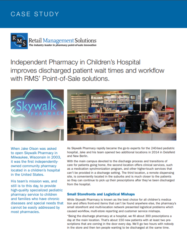 Independent Pharmacy in Children�s Hospital improves discharged patient wait times and workflow with