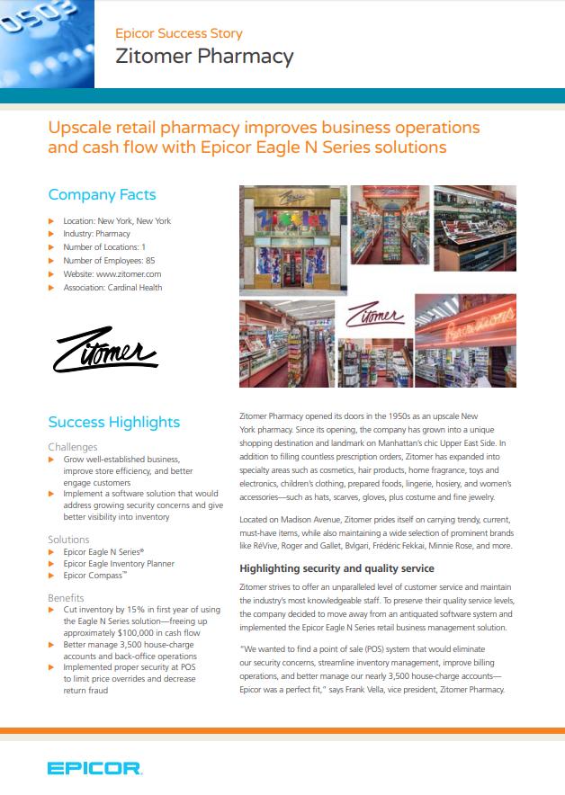 Epicor Success Story: Zitomer Pharmacy