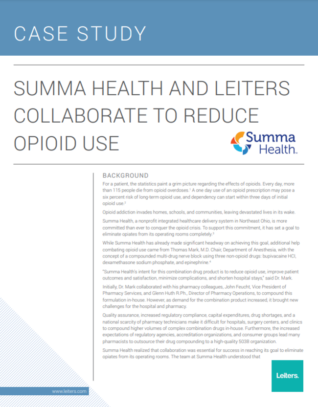 Summa Health and Leiters Collaborate to Reduce Opioid Use
